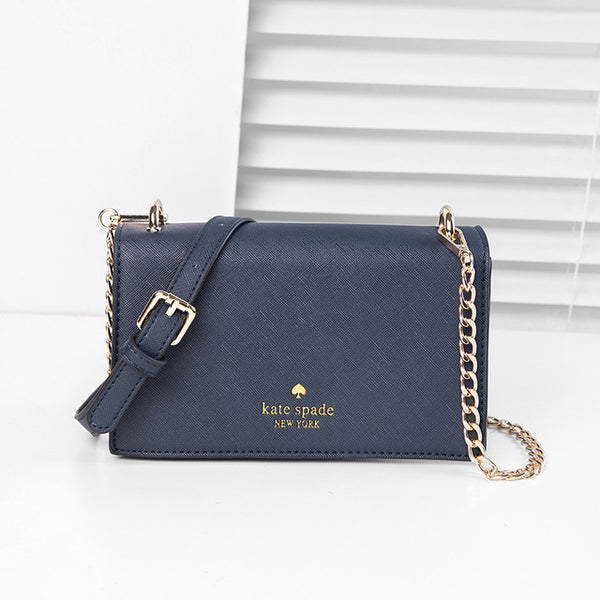 Saffiano leather bag women small square bags blue chains
