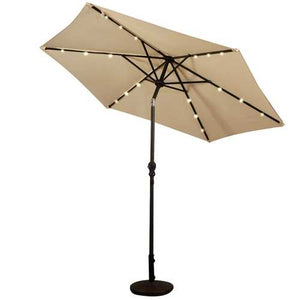 Buy Online High Quality Beige 9-Ft Patio Umbrella with Steel Pole Crank Tilt and Solar LED Lights - HighEndGrillers