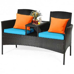 Buy Online High Quality Patio Rattan Conversation Set -Green - HighEndGrillers