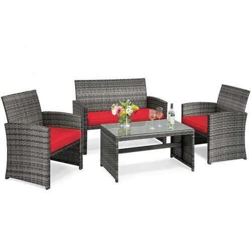 Buy Online High Quality 4PCS Patio Rattan Furniture Set-Red - HighEndGrillers