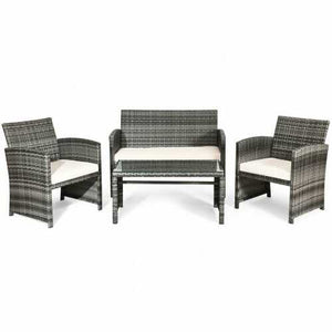 Buy Online High Quality 4 Pcs Patio Rattan Furniture Set Top Sofa With Glass Table - HighEndGrillers