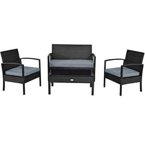 Buy Online High Quality 4 PCS Patio Rattan Cushioned Furniture Set -Black - HighEndGrillers