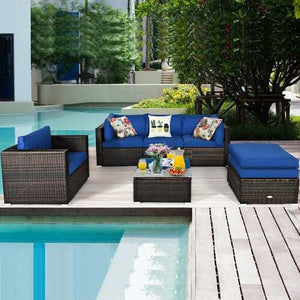 Buy Online High Quality Blue 6 pc Outdoor Blue Rattan Sofa Set - HighEndGrillers
