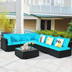 Buy Online High Quality 7 pc Outdoor Rattan Turquoise Sofa Set - HighEndGrillers