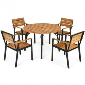 Buy Online High Quality 5 pc Acacia Wood Patio Dining Chair Set with Umbrella Hole - HighEndGrillers