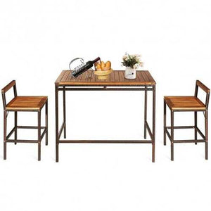 Buy Online High Quality 3 PCS Patio Rattan Wicker Bar Dining Furniture Set - HighEndGrillers