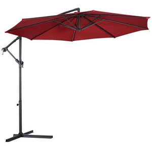 Buy Online High Quality 10 ft Burgundy Hanging Umbrella with Cross Base - HighEndGrillers