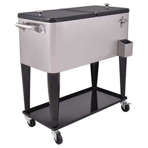 Buy Online High Quality 80 Quart Rolling Stainless Steel Ice Beverage Cooler - HighEndGrillers