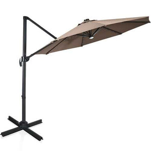 Buy Online High Quality 10 Ft Patio Offset Cantilever Coffee Umbrella with Built-In  Solar Lights - HighEndGrillers