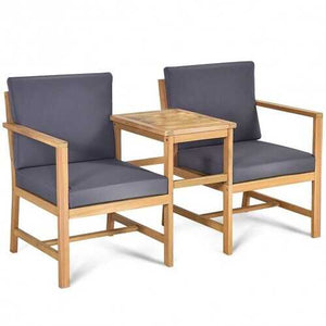 Buy Online High Quality 3 pc Solid Acacia Wood Patio Table and Chairs Set - HighEndGrillers