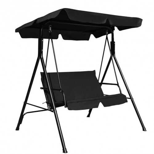 Buy Online High Quality Outdoor Love-seat Patio Canopy Swing with Black Cushions - HighEndGrillers