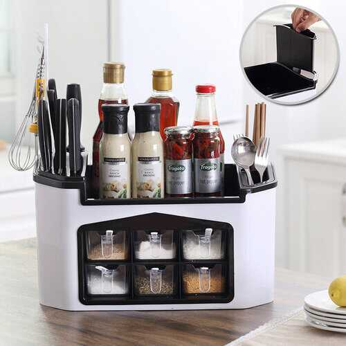 Buy Online High Quality Multifunctional Kitchen Storage Organizer Rack Tableware Cutlery Box Condiment Knives Holder - HighEndGrillers
