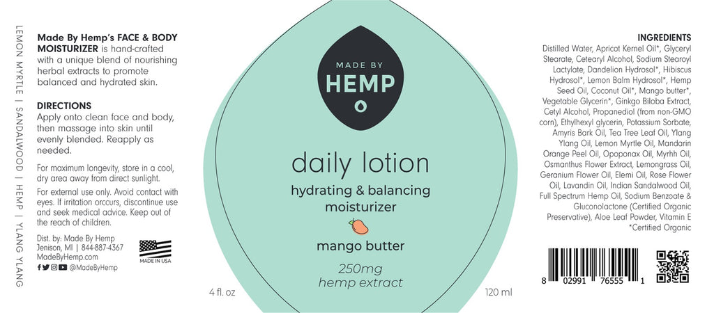 MADE BY HEMP Daily Lotion Moisturizer