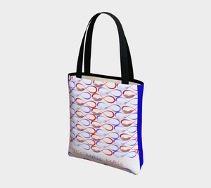 Red and Blue Unlined Tote