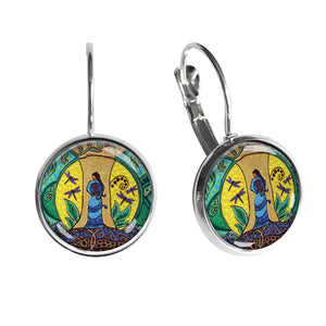 Strong Earth Woman Glass Dome Earrings