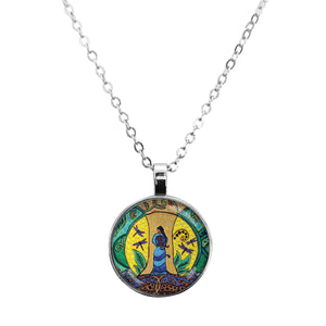Strong Earth Woman Glass Dome Necklace