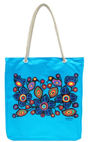 norval morrisseau flowers and birds tote