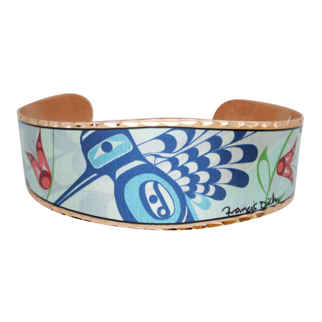 Peace Love & Happiness Copper Cuff bracelet - shipping April 21