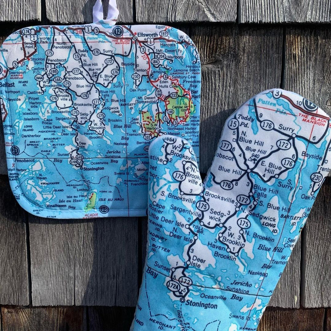 Blue Hill Peninsula Map Oven Mitt & Potholder
