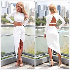 Long Sleeve Backless Pure Color Leaky Belly Button Shirt Dress Shirt Top Tee