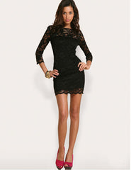 Sexy Lace Tight Three Quarter Sleeve Package Hip Mini Dress