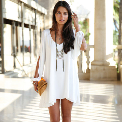 Split Long Sleeve Chiffon Loose Mini Dress