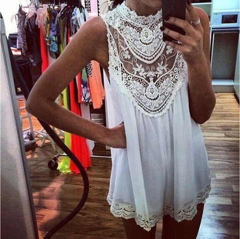 Hollow Out  Lace Sexy Loose Tunic Shirt Top Blouse