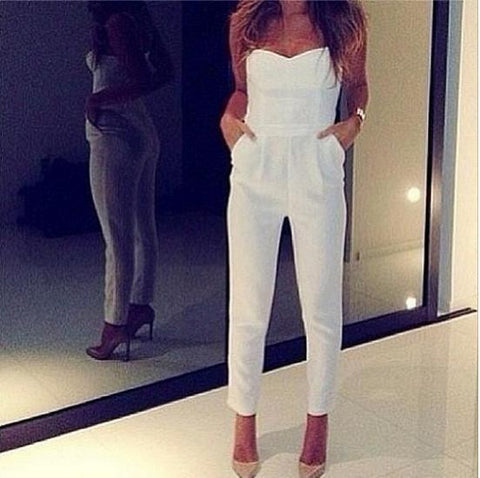 Sexy V-Neck Wrap Chest Strapless Jumpsuits Romper