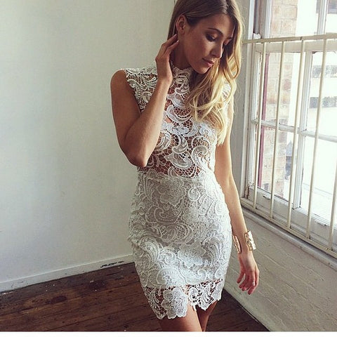 Lace Hollow Out High Collar Tight Mini Dress
