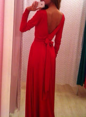 Fashion Stitching Backless Bandage  Maxi Dress