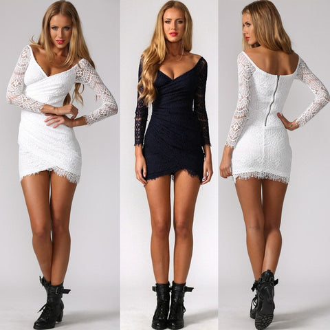 Irregular Lace Slim Fit  Dress