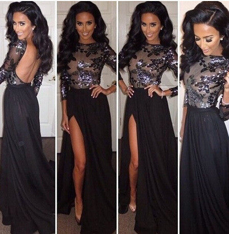 Long-Sleeved Backless Sequined Split Fashion Maxi Dress