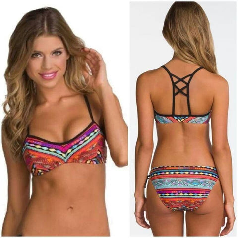 Print Sexy Multicolor Hollow Bikini Set Swimsuit Swimwear