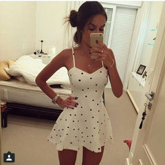 Sexy Sleeveless Polka Dots Mini Dress