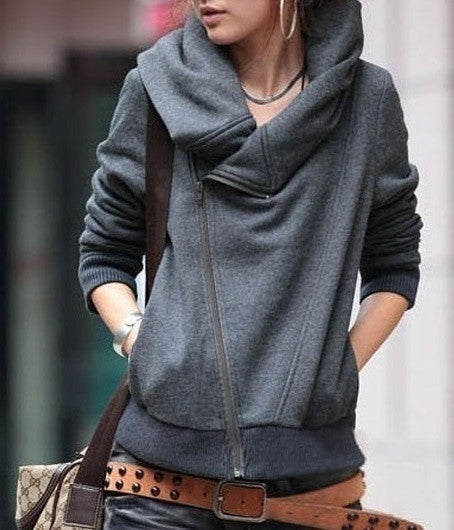 Simple Long-sleeved Zip Cardigan Jacket Coat Hoodie
