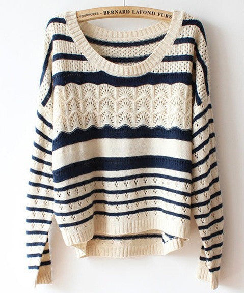 Beige Loose Stripe Round Neck Pullover Sweater