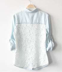 Fashion Lace Long Sleeve Shirt Top Tee