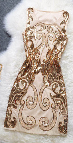 Embroidery Sequin Sleeveless Tight Dress