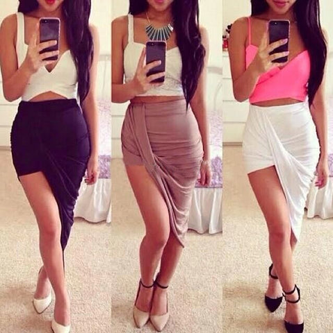 Irregular Fashion Solid Color Bodycon Skirts