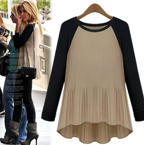 Casual Spell Color Round Neck Long-Sleeved T-Shirt