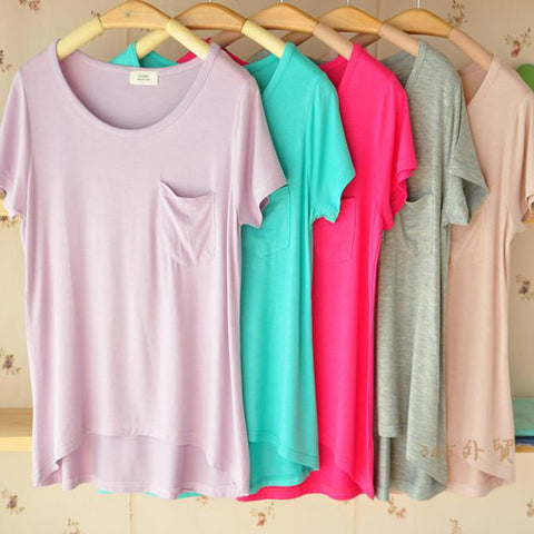 Casual Simple Pocket  Short Sleeve Shirt Top Tee