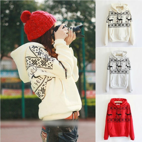 Christmas deer Fleece Multicolor Print Pullover Top Sweater