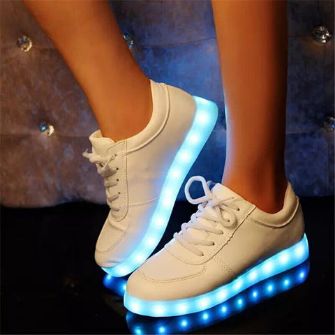 USB Charge Colorful LED Luminous Flats Casual Shoes