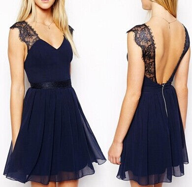 Stitching Lace Chiffon Backless Dress