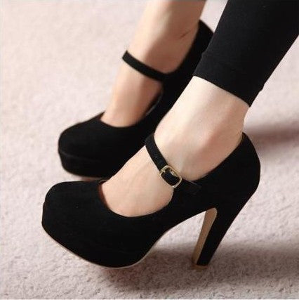 Coarse Word Buckle Heels Princess Shoes