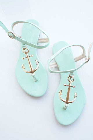 Anchor Round Head Solid Flat Sandals Shoes