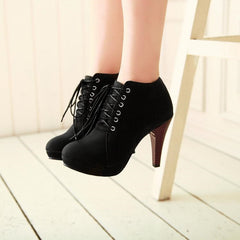 Round Head Lace Black High Heel  Boots