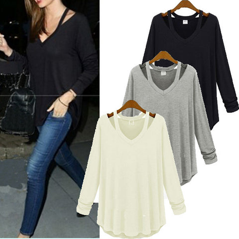 Long Sleeve V Neck Solid Color Blouse Shirt Top Tee