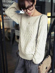 Retro Fashion Women Loose Pullover Sweaters Knitwear