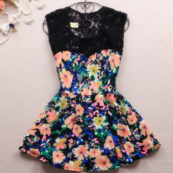 Print Sleeveless Lace Multicolor Mini Dress